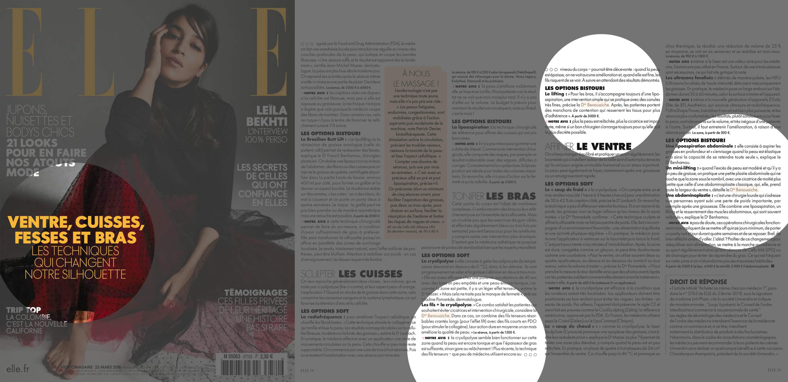 ELLE, Mars 2018 - Interview Dr Benouaiche - Dossier Silhouette